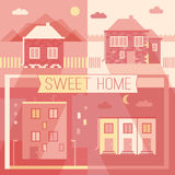 De nieuwe bouw en de privé pictogrammen van het huizen vlakke ontwerp Stock Afbeelding