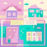 De nieuwe bouw en de privé pictogrammen van het huizen vlakke ontwerp Royalty-vrije Stock Foto