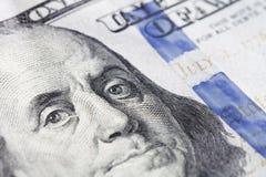 De nieuwe close-up van de honderd dollarsrekening Stock Foto