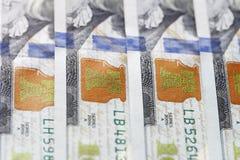 De nieuwe close-up van de honderd dollarsrekening Stock Afbeelding