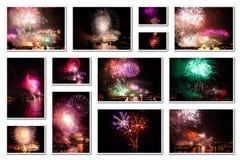 De nieuwe collage van de jaarvooravond Stock Afbeeldingen