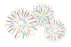 De nieuwe decoratie van het jaar kleurrijke die vuurwerk op witte backgro wordt geïsoleerd vector illustratie