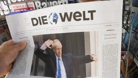 De nieuwe Eerste minister van Boris Johnson van het Verenigd Koninkrijk Die Welt stock videobeelden