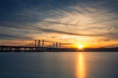 De nieuwe en Oude Bruggen van Tappan Zee stock afbeeldingen