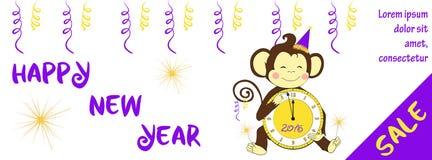 De nieuwe horizontale banner van de jaarverkoop met leuke aap Stock Foto