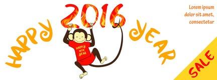 De nieuwe horizontale banner van de jaarverkoop met leuke aap Stock Foto's