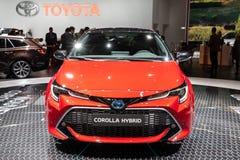 De nieuwe Hybride die auto van Toyota Corolla bij de de Motorshow van Parijs wordt gedemonstreerd stock foto