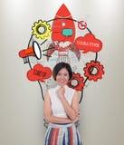 De nieuwe ideeën van het bedrijfsvrouwenconcept met innovatie Stock Foto