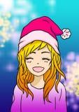 De nieuwe illustratie van de jaarkunst van een meisje die in een roze sweater en een klatergoud met een santahoed glimlachen op h royalty-vrije stock afbeeldingen