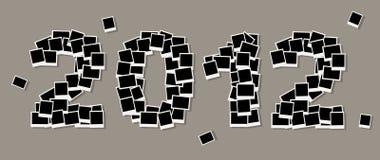De nieuwe jaarkaart 2012, neemt uw foto's in frames op Royalty-vrije Stock Afbeelding