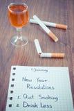 De nieuwe jarenresoluties, houden met op rokend, drank minder alcohol Stock Foto's