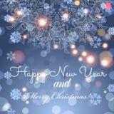 De nieuwe kaart van de jaargroet Gelukwensen op Kerstmis Hand-drawn het ornamentkaart van het cirkelkant Stock Afbeeldingen