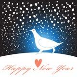 De nieuwe kaart van de jaargroet met een witte vogel stock illustratie