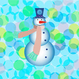 De nieuwe kaart van de jaargroet met sneeuwman Royalty-vrije Stock Foto