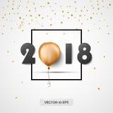 2018 De nieuwe kaart van de jaargroet Vector Confettien en gouden folieballon De achtergrond van de viering Stock Afbeelding