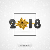 2018 De nieuwe kaart van de jaargroet Vector Decoratieachtergrond met de gouden lint en teksten van 2018 royalty-vrije illustratie