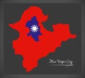 De nieuwe kaart van de Stadstaiwan van Taipeh met Taiwanese nationale vlagillustra Royalty-vrije Stock Fotografie
