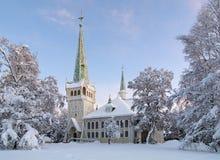 De Nieuwe Kerk van Jokkmokk in de winter, Zweden Stock Afbeelding
