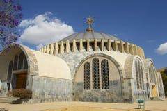 De nieuwe kerk van Onze Dame Mary van Zion, de heiligste plaats voor alle Orthodoxe Ethiopiërs Aksum, Ethiopië stock foto's