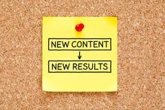 De nieuwe Kleverige Nota van Inhouds Nieuwe Resultaten royalty-vrije stock afbeeldingen