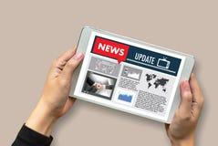 De NIEUWE Media Live Broadcast Media Talking Communica van de Updatekrantekop stock afbeeldingen
