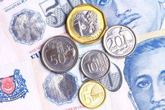 De nieuwe muntstukken van Singapore Royalty-vrije Stock Foto's