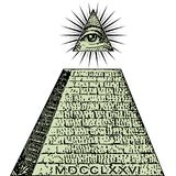 De nieuwe Orde van de Wereld Één dollar, piramide De rekening van Illuminatisymbolen, vrijmetselaars- teken, allen die oogvector  royalty-vrije illustratie