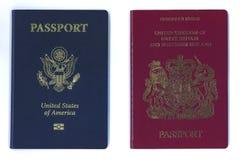 De nieuwe paspoorten van de V.S. en van de EU stock afbeelding