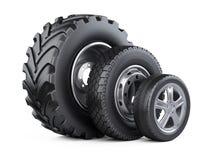 De nieuwe reeks van autowielen met schijf voor auto's, tractor en vrachtwagens Royalty-vrije Stock Afbeelding