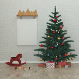 De nieuwe ruimte van jaarjonge geitjes, Kerstboom, stelt voor, 3D Royalty-vrije Stock Afbeeldingen