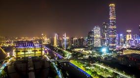 De nieuwe stad van de Zhu jiang rivier Stock Afbeelding