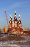 De nieuwe tempel in aanbouw stock foto