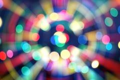 De nieuwe tendens van 2019 van kleurrijke die bokeh van de technostijl voor Kerstmis of nieuw jaarconcept wordt gebruikt stock foto's