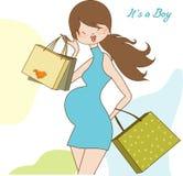 De nieuwe uitnodiging van de babydouche met zwangere expectant Stock Foto