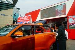 De nieuwe vakantie van de jaar` s Dag, Shenzhen auto toont scènelandschap, vele mensen het letten op Royalty-vrije Stock Foto