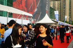De nieuwe vakantie van de jaar` s Dag, Shenzhen auto toont scènelandschap, vele mensen het letten op Royalty-vrije Stock Foto's