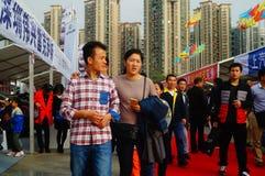 De nieuwe vakantie van de jaar` s Dag, Shenzhen auto toont scènelandschap, vele mensen het letten op Royalty-vrije Stock Fotografie