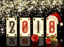 De nieuwe van de het casinopook van 2018 kaart van de het jaargroet, vector Royalty-vrije Stock Afbeelding