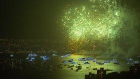 De nieuwe viering van de jaar` s vooravond over haven stock video