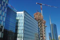 De nieuwe wolkenkrabber van Milaan in aanbouw Royalty-vrije Stock Afbeelding