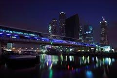 De nieuwe zaken van de Stad van Moskou complex bij donkere nacht Stock Foto's