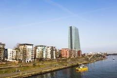 De nieuwe zetel van de Europese Centrale Bank in Frankfurt Royalty-vrije Stock Fotografie
