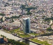 De nieuwe zetel van de Europese Centrale Bank in Frankfurt Royalty-vrije Stock Afbeeldingen
