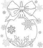 De nieuwe zwart-witte affiche van het jaarthema met decoratie, lint en sneeuwvlokken Royalty-vrije Stock Foto's