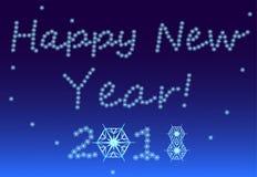 De nieuwjaar` s Vooravond, sneeuw, sneeuwvlokken vormt zich in woorden van gelukwensen royalty-vrije illustratie