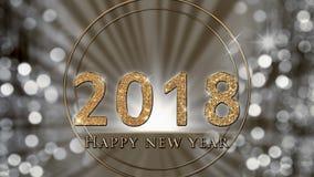 De nieuwjaarillustratie, kaart met gouden fonkelen, schittert 2018 op zilveren achtergrond royalty-vrije illustratie