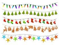 De Nieuwjarenverjaardagen van vieringskerstmis en andere gebeurtenissenslingers vector illustratie