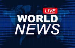 De nieuwsachtergrond, brekend nieuws, vector infographic met nieuws als thema heeft kaart van de wereld Stock Afbeelding