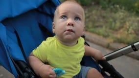 De nieuwsgierige zitting van de zuigelingsjongen in kinderwagen in openlucht