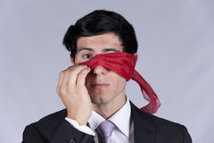 De nieuwsgierigheid van de zakenman Stock Afbeelding